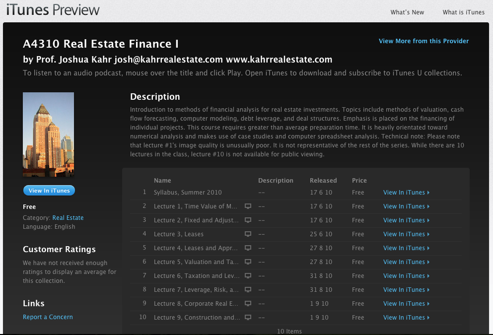 Real Estate Finance Course